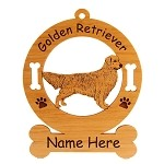 3262 Golden Retriever Standing #3 Ornament Personalized with Your Dog's Name