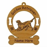 3263 Golden Retriever Wagging Ornament Personalized with Your Dog's Name