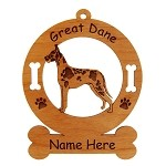 3286 Great Dane Harlequin Standing Ornament Personalized with Your Dog's Name