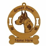 3291 Great Dane Harlequin Head Ornament Personalized with Your Dog's Name