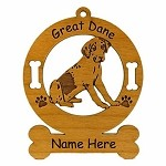 3292 Great Dane Uncropped Ornament Personalized with Your Dog's Name