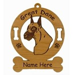 3293  Great Dane Head Ornament Personalized with Your Dog's Name