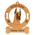 3295 Great Dane Head #3 Ornament Personalized with Your Dog's Name