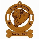 3301 Great Pyrenees Head Ornament Personalized with Your Dog's Name