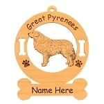 3303 Great Pyrenees Standing #2 Ornament Personalized with Your Dog's Name