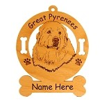 3304 Great Pyrenees Head #3 Ornament Personalized with Your Dog's Name