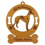 3319 Greyhound Standing Ornament Personalized with Your Dog's Name