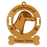 3320 Greyhound Head Ornament Personalized with Your Dog's Name
