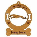 3322 Greyhound Running Ornament Personalized with Your Dog's Name