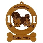 3346 Havanese Standing 2 Ornament Personalized with Your Dog's Name
