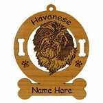 3347 Havanese Head Ornament Personalized with Your Dog's Name