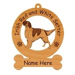 3375 Red and White Irish Setter Standing Ornament Personalized with Your Dog's Name