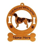 3376 Irish Red and White Setter Standing #2 Ornament Personalized with Your Dog's Name