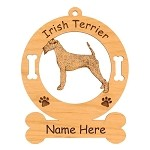 3382 Irish Terrier Standing Ornament Personalized with Your Dog's Name