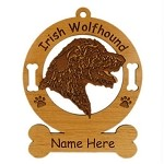 3391 Irish Wolfhound Head Ornament Personalized with Your Dog's Name