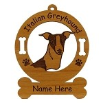 3407 Italian Greyhound Head Ornament Personalized with Your Dog's Name