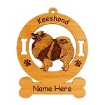 3433 Keeshond Standing #4 Ornament Personalized with Your Dog's Name