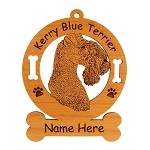 3444 Kerry Blue Terrier Head Ornament Personalized with Your Dog's Name