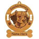 3460 Kooikerhondje Head Ornament Personalized with Your Dog's Name