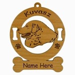 3469 Kuvasz Head Ornament Personalized with Your Dog's Name