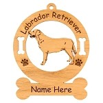 3476 Labrador Standing #3 Ornament Personalized with Your Dog's Name