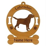 3477 Labrador Retreiver Standing Ornament Personalized with Your Dog's Name