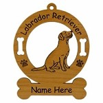 3479 Labrador Retreiver Sitting Ornament Personalized with Your Dog's Name