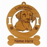 3483 Labrador Retreiver Pup Head Ornament Personalized with Your Dog's Name