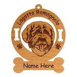 3491 Lagotto Romagnolo Head Ornament Personalized with Your Dog's Name