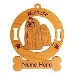 3528 Maltese Standing #2 Ornament Personalized with Your Dog's Name