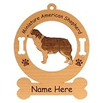 3550 Miniature American Shepherd Standing Ornament Personalized with Your Dog's Name