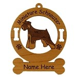 3557 Mini Schnauzer Uncropped Standing Ornament Personalized with Your Dog's Name