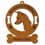 3563 Miniature Pinscher Head  Ornament Personalized with Your Dog's Name