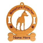 3564 Miniature Pinscher Standing Angled Ornament Personalized with Your Dog's Name