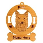 3581 Mudi Head Ornament Personalized with Your Dog's Name