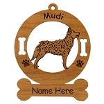 3582 Mudi Standing Ornament Personalized with Your Dog's Name