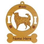3583 Mudi Standing #2 Ornament Personalized with Your Dog's Name