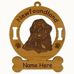 3596 Newfoundland Head  Ornament Personalized with Your Dog's Name