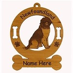 3597 Newfoundland Landseer Sitting  Ornament Personalized with Your Dog's Name