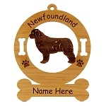 3598 Newfoundland Standing Ornament Personalized with Your Dog's Name
