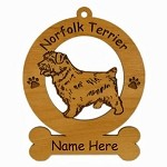 3605 Norfolk Terrier Standing  Ornament Personalized with Your Dog's Name