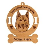 3607 Norrbottenspets Head Ornament Personalized with Your Dog's Name