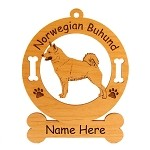 3609 Norwegian Buhund Standing #2 Ornament Personalized with Your Dog's Name