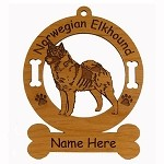 3611 Norwegian Elkhound Standing  Ornament Personalized with Your Dog's Name