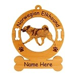 3612 Norwegian Elkhound Gaiting Ornament Personalized with Your Dog's Name