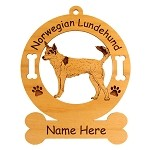 3613 Norwegian Lundehund Standing #2  Ornament Personalized with Your Dog's Name