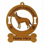 3614 Norwegian Lundehund Standing  Ornament Personalized with Your Dog's Name