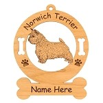 3617 Norwich Terrier Standing #2 Ornament Personalized with Your Dog's Name