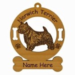 3618 Norwich Terrier Standing  Ornament Personalized with Your Dog's Name