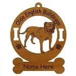 3627 Olde English Bulldogge Standing  Ornament Personalized with Your Dog's Name